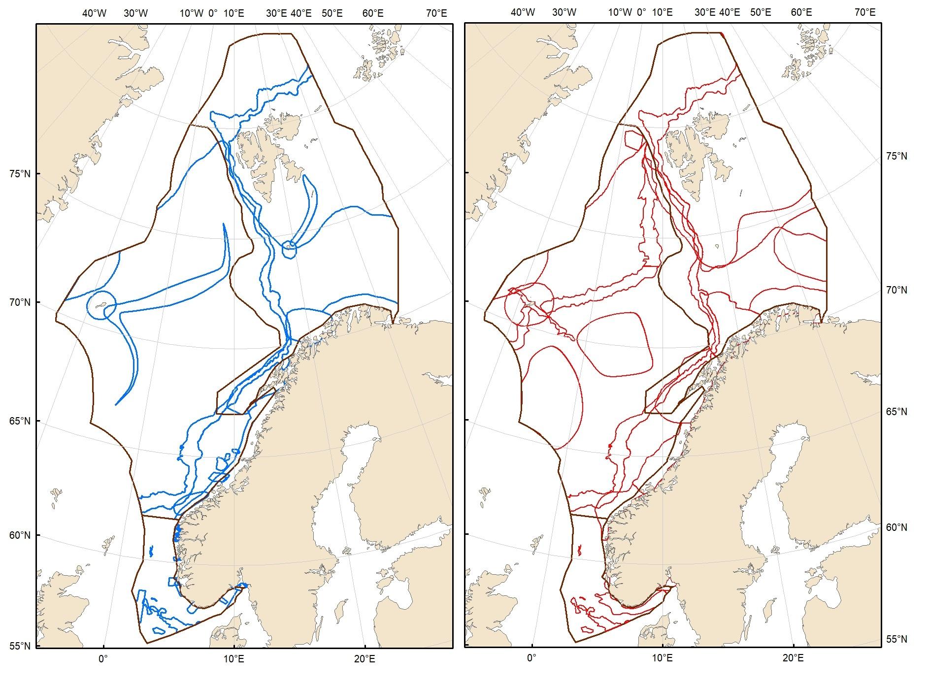 Kart som viser eksisterende og foreslåtte SVO-er i norske havområder.