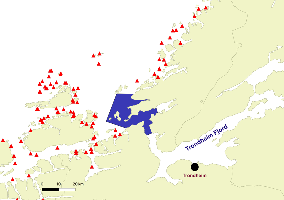 Fig. 1: A map showing the trawling area (blue) in the outer part of the Trondheim fjord and salmon farms (red triangles).